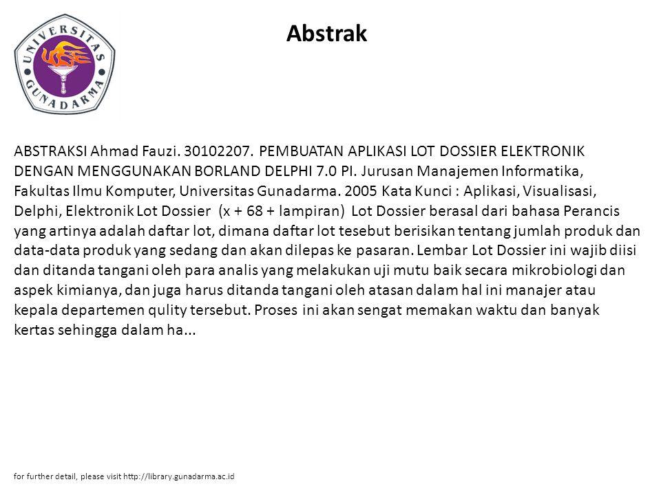 Abstrak ABSTRAKSI Ahmad Fauzi.30102207.