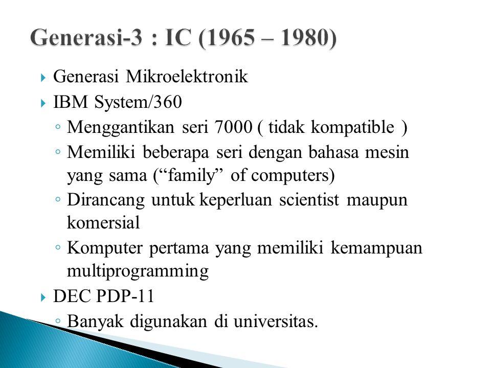 """ Generasi Mikroelektronik  IBM System/360 ◦ Menggantikan seri 7000 ( tidak kompatible ) ◦ Memiliki beberapa seri dengan bahasa mesin yang sama (""""fam"""