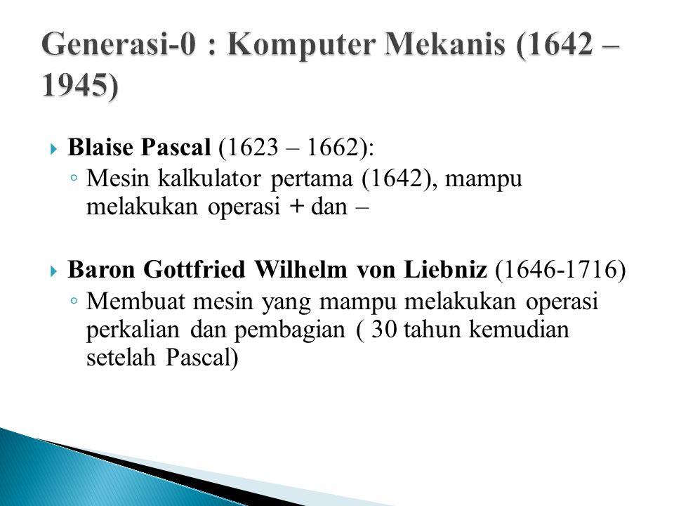  Blaise Pascal (1623 – 1662): ◦ Mesin kalkulator pertama (1642), mampu melakukan operasi + dan –  Baron Gottfried Wilhelm von Liebniz (1646-1716) ◦