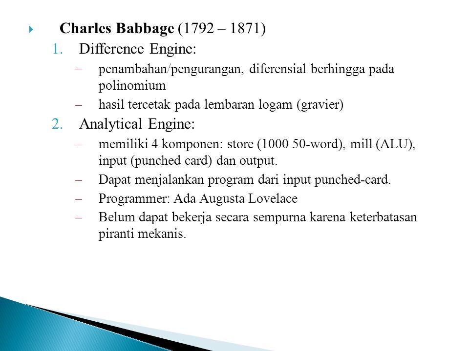  Charles Babbage (1792 – 1871) 1.Difference Engine: –penambahan/pengurangan, diferensial berhingga pada polinomium –hasil tercetak pada lembaran loga
