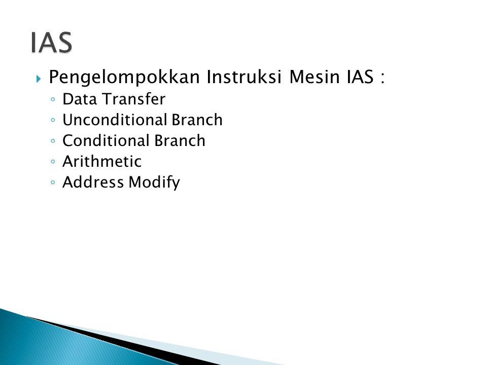  Pengelompokkan Instruksi Mesin IAS : ◦ Data Transfer ◦ Unconditional Branch ◦ Conditional Branch ◦ Arithmetic ◦ Address Modify