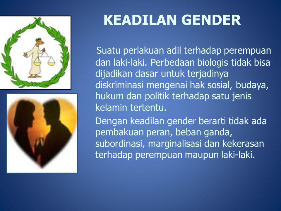 KEADILAN GENDER Suatu perlakuan adil terhadap perempuan dan laki-laki. Perbedaan biologis tidak bisa dijadikan dasar untuk terjadinya diskriminasi men