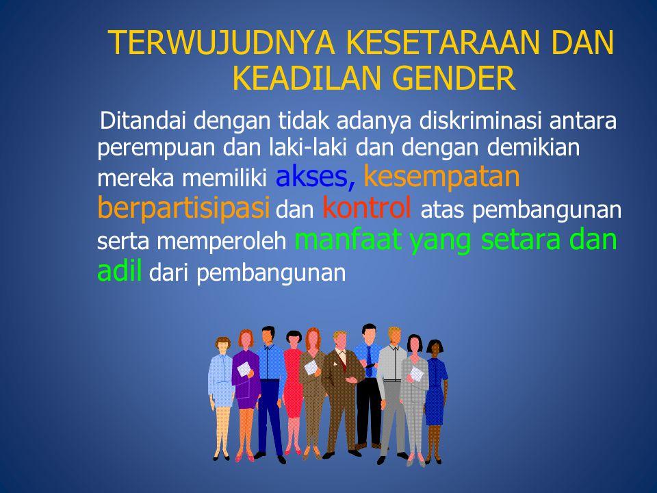 TERWUJUDNYA KESETARAAN DAN KEADILAN GENDER Ditandai dengan tidak adanya diskriminasi antara perempuan dan laki-laki dan dengan demikian mereka memilik