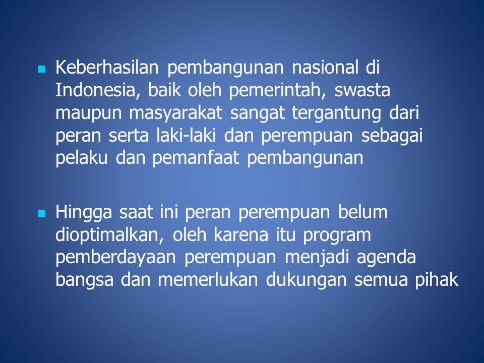 Keberhasilan pembangunan nasional di Indonesia, baik oleh pemerintah, swasta maupun masyarakat sangat tergantung dari peran serta laki-laki dan peremp