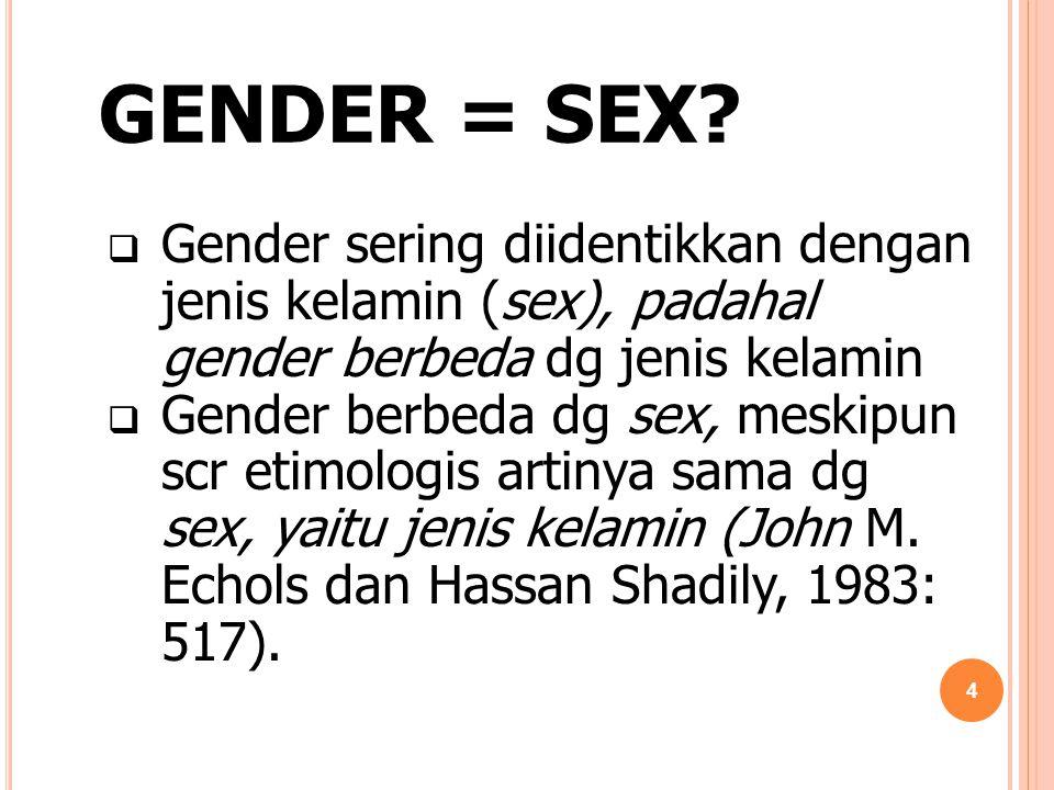 GENDER = SEX?  Gender sering diidentikkan dengan jenis kelamin (sex), padahal gender berbeda dg jenis kelamin  Gender berbeda dg sex, meskipun scr e