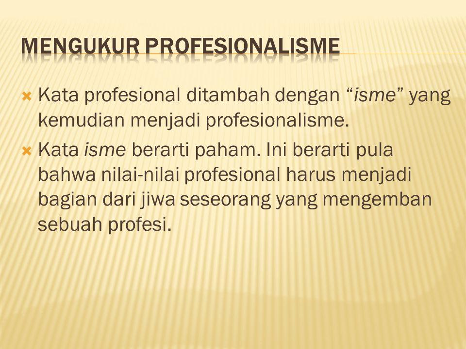 """ Kata profesional ditambah dengan """"isme"""" yang kemudian menjadi profesionalisme.  Kata isme berarti paham. Ini berarti pula bahwa nilai-nilai profesi"""
