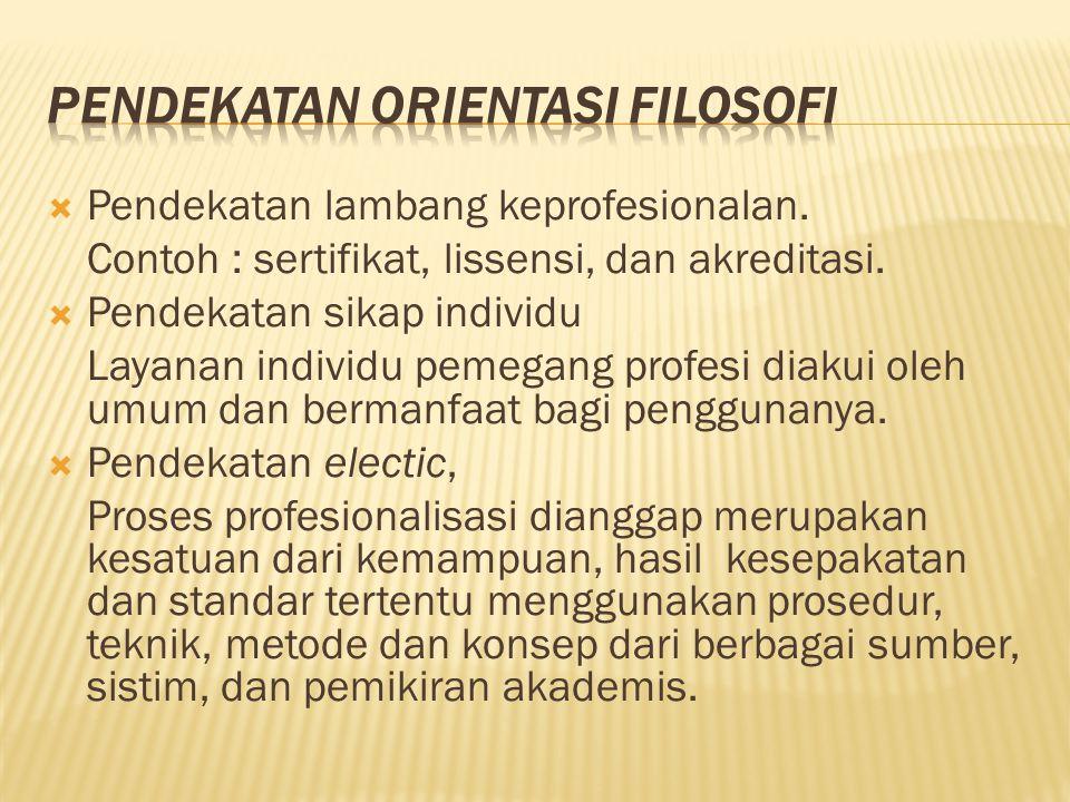  Pendekatan lambang keprofesionalan. Contoh : sertifikat, lissensi, dan akreditasi.  Pendekatan sikap individu Layanan individu pemegang profesi dia
