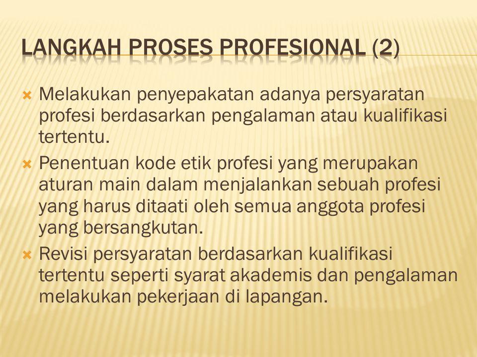  Melakukan penyepakatan adanya persyaratan profesi berdasarkan pengalaman atau kualifikasi tertentu.  Penentuan kode etik profesi yang merupakan atu