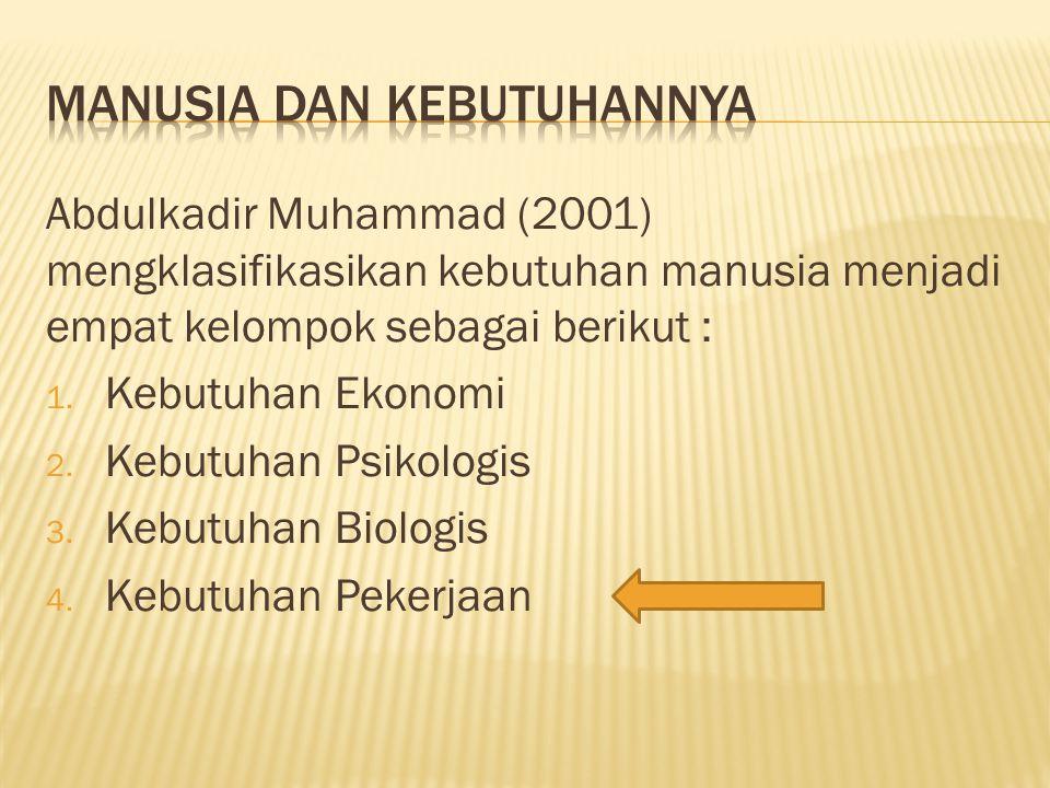 Abdulkadir Muhammad (2001) mengklasifikasikan kebutuhan manusia menjadi empat kelompok sebagai berikut : 1. Kebutuhan Ekonomi 2. Kebutuhan Psikologis
