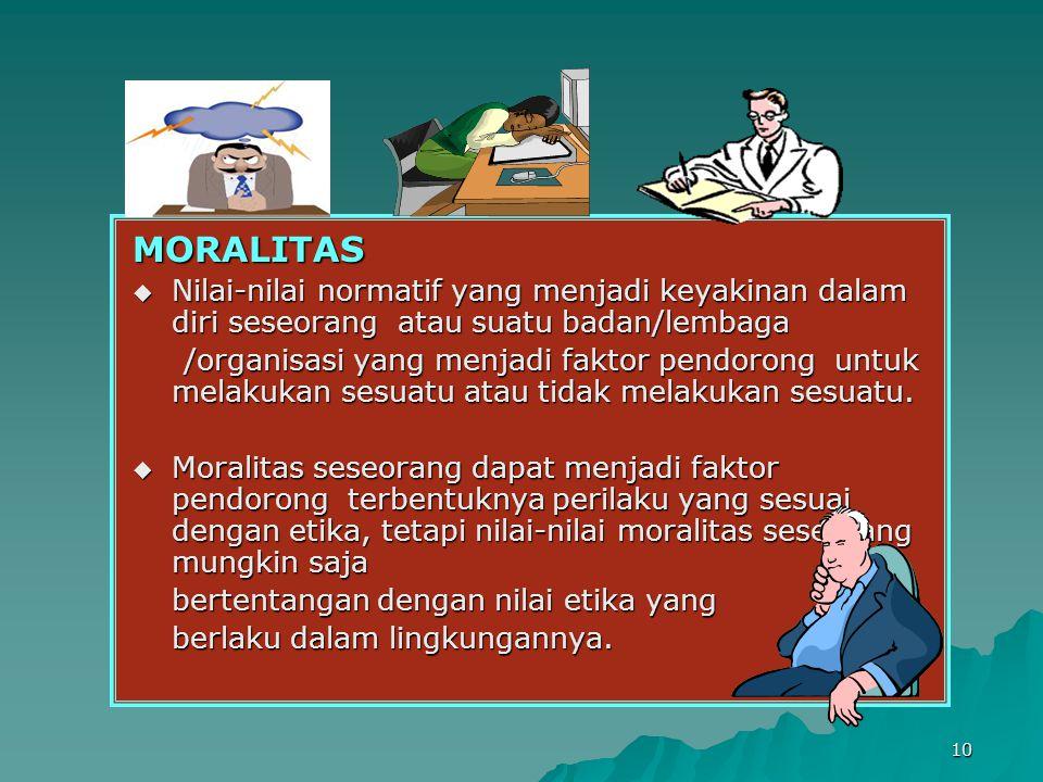 10 MORALITAS  Nilai-nilai normatif yang menjadi keyakinan dalam diri seseorang atau suatu badan/lembaga /organisasi yang menjadi faktor pendorong untuk melakukan sesuatu atau tidak melakukan sesuatu.