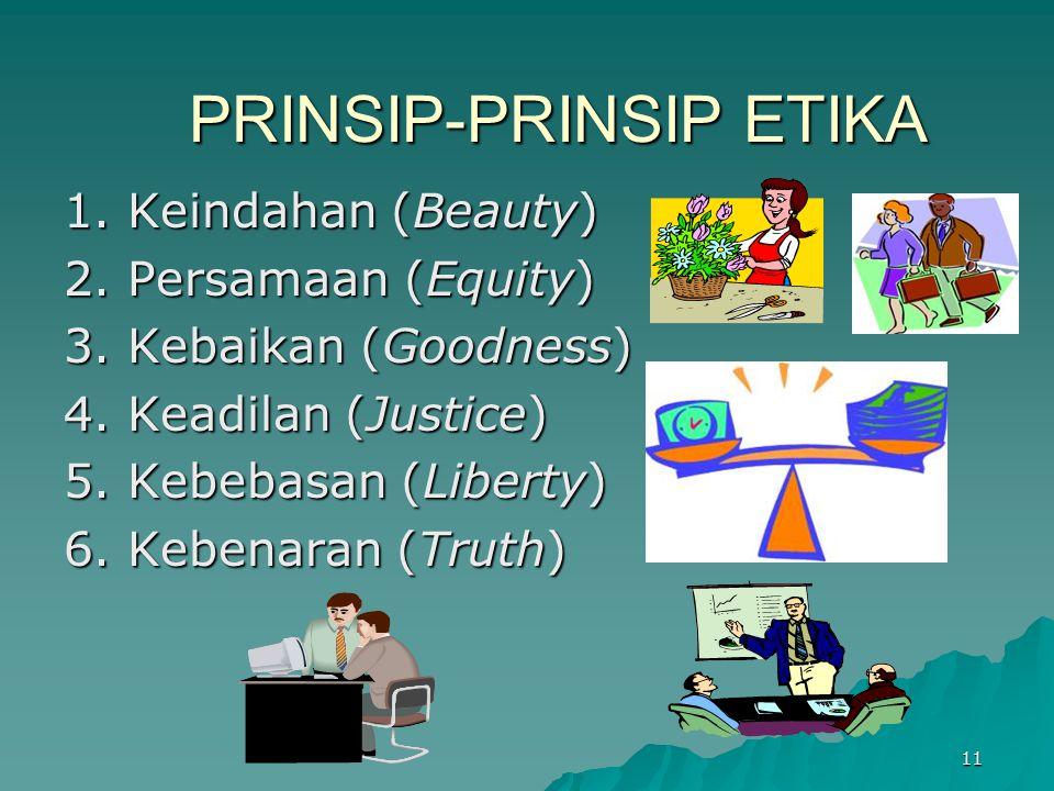11 PRINSIP-PRINSIP ETIKA 1. Keindahan (Beauty) 2. Persamaan (Equity) 3. Kebaikan (Goodness) 4. Keadilan (Justice) 5. Kebebasan (Liberty) 6. Kebenaran