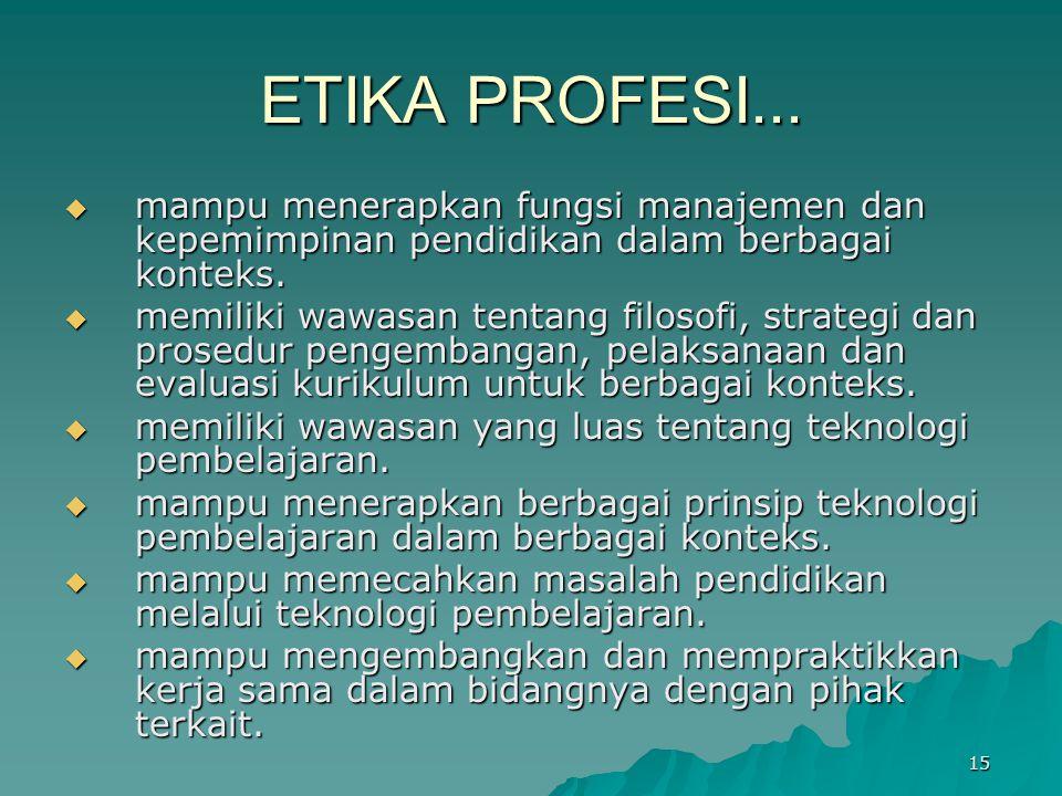 ETIKA PROFESI...  mampu menerapkan fungsi manajemen dan kepemimpinan pendidikan dalam berbagai konteks.  memiliki wawasan tentang filosofi, strategi