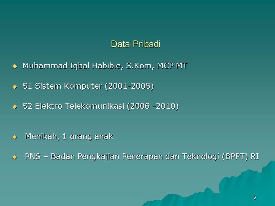  Muhammad Iqbal Habibie, S.Kom, MCP MT  S1 Sistem Komputer (2001-2005)  S2 Elektro Telekomunikasi (2006 -2010)  Menikah, 1 orang anak  PNS – Bada
