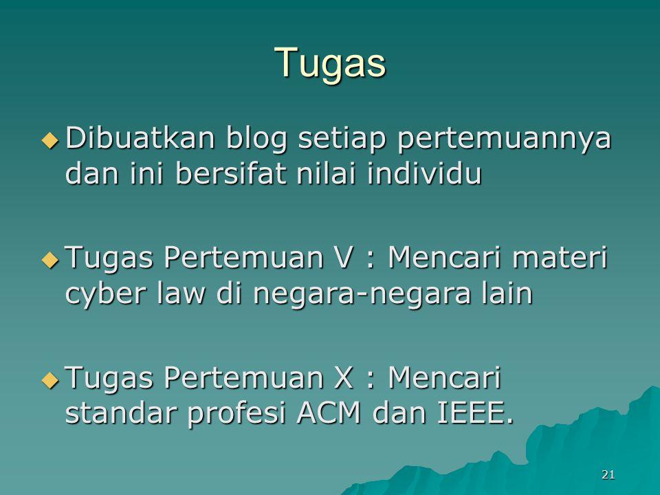 Tugas  Dibuatkan blog setiap pertemuannya dan ini bersifat nilai individu  Tugas Pertemuan V : Mencari materi cyber law di negara-negara lain  Tuga