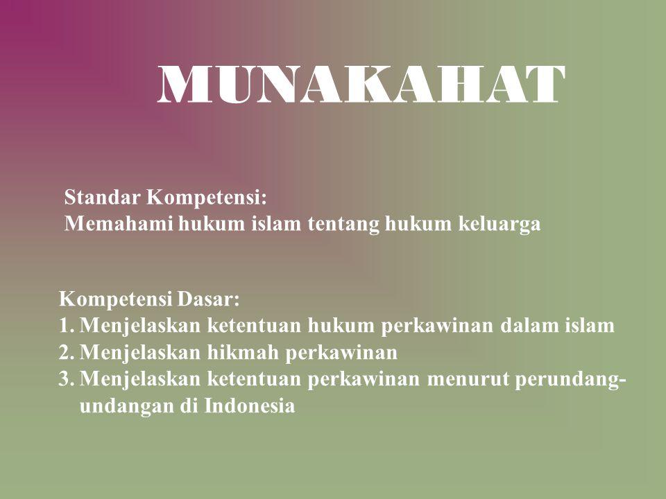 Standar Kompetensi: Memahami hukum islam tentang hukum keluarga Kompetensi Dasar: 1.Menjelaskan ketentuan hukum perkawinan dalam islam 2.Menjelaskan h
