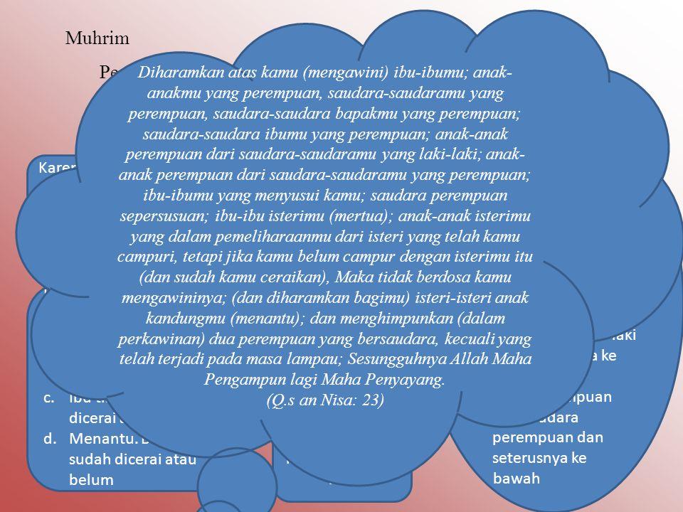 Muhrim Pengertian Muhrim Muhrim secara bahasa berarti diharamkan. Dalam masalah fikih muhrim bermakna wanita yang haram untuk di nikahi Wanita yang ha