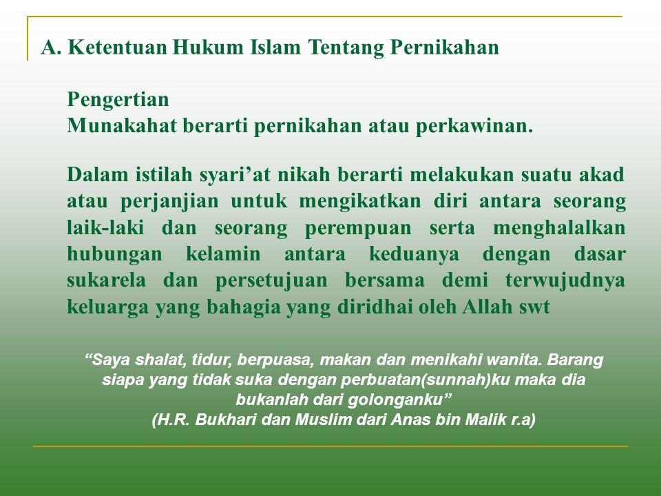 A. Ketentuan Hukum Islam Tentang Pernikahan Pengertian Munakahat berarti pernikahan atau perkawinan. Dalam istilah syari'at nikah berarti melakukan su