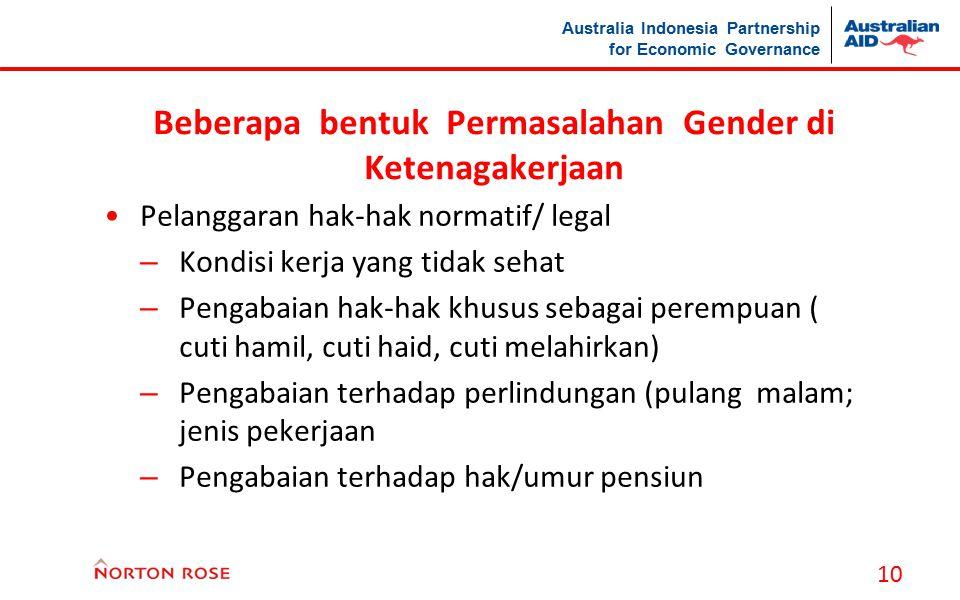 Australia Indonesia Partnership for Economic Governance Beberapa bentuk Permasalahan Gender di Ketenagakerjaan Pelanggaran hak-hak normatif/ legal – K