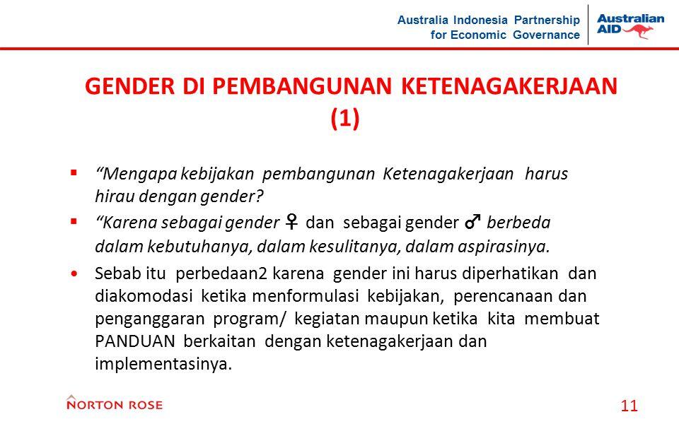 """Australia Indonesia Partnership for Economic Governance GENDER DI PEMBANGUNAN KETENAGAKERJAAN (1)  """"Mengapa kebijakan pembangunan Ketenagakerjaan har"""