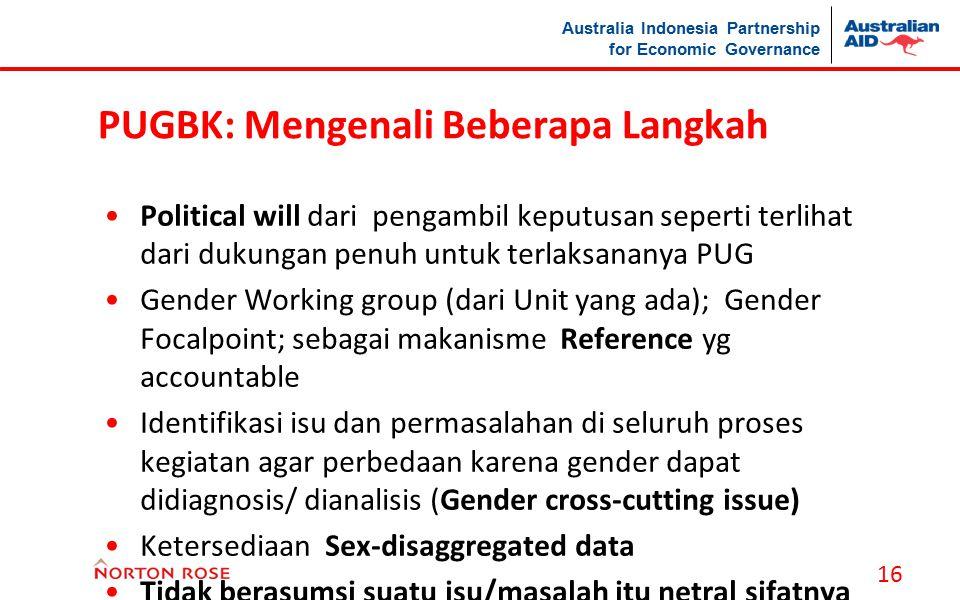Australia Indonesia Partnership for Economic Governance PUGBK: Mengenali Beberapa Langkah Political will dari pengambil keputusan seperti terlihat dar