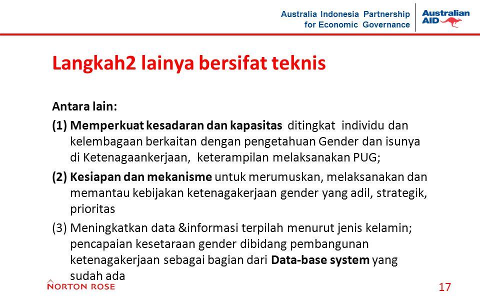 Australia Indonesia Partnership for Economic Governance Langkah2 lainya bersifat teknis Antara lain: (1)Memperkuat kesadaran dan kapasitas ditingkat i