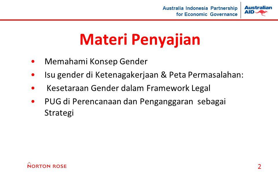 Australia Indonesia Partnership for Economic Governance 2 Materi Penyajian Memahami Konsep Gender Isu gender di Ketenagakerjaan & Peta Permasalahan: K
