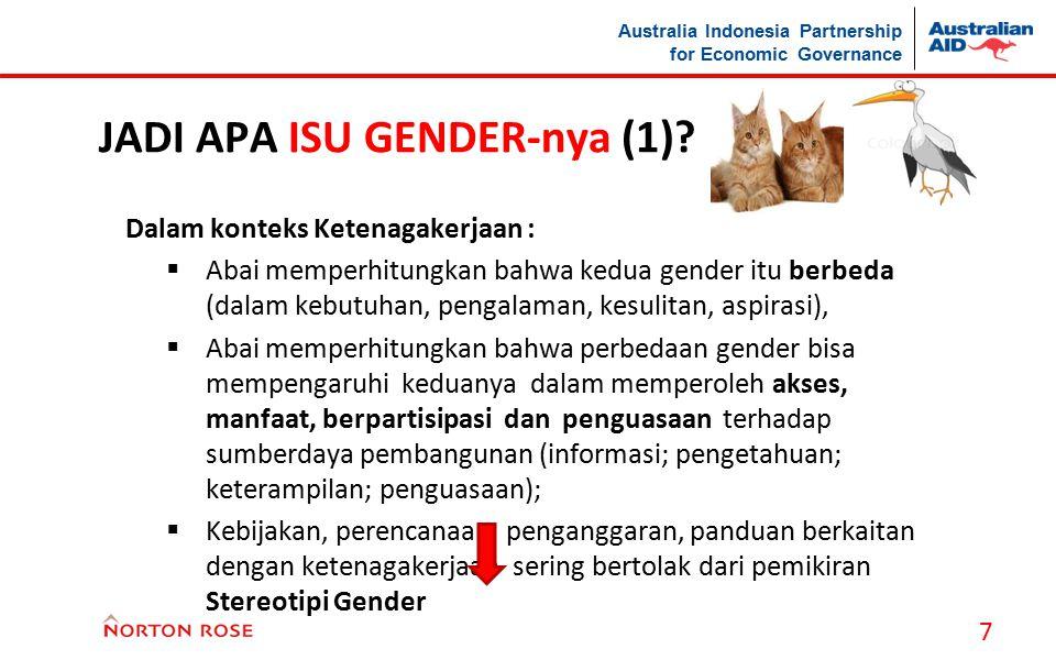 Australia Indonesia Partnership for Economic Governance JADI APA ISU GENDER-nya (1)? Dalam konteks Ketenagakerjaan :  Abai memperhitungkan bahwa kedu