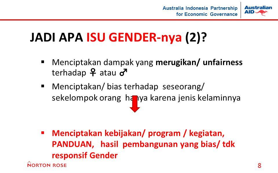 Australia Indonesia Partnership for Economic Governance JADI APA ISU GENDER-nya (2)?  Menciptakan dampak yang merugikan/ unfairness terhadap ♀ atau ♂