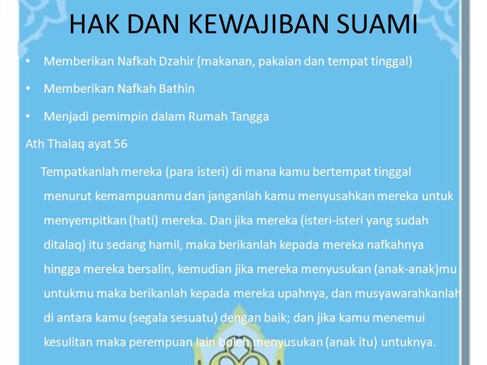 Ath-Tha'am (memberi nafkah atau makan) Al-Malbas (memberi pakaian) Al-Maskan (memberi tempat berlindung) Al-Himayyah (memberi perlindungan) At-Tibaba (memberi pengobatan) Ad-Dain (membayarkan hutangnya) An-Nasab (garis keturunan—larangan menghina orangtuanya sendiri) Al-Janazah (sholat jenazah jika orangtuanya wafat) Al-Wasiyyah (memenuhi wasiat orangtuanya) Ad-Du'a (mendoakan kedua orangtuanya) Konsekuensi Birrul Walidain