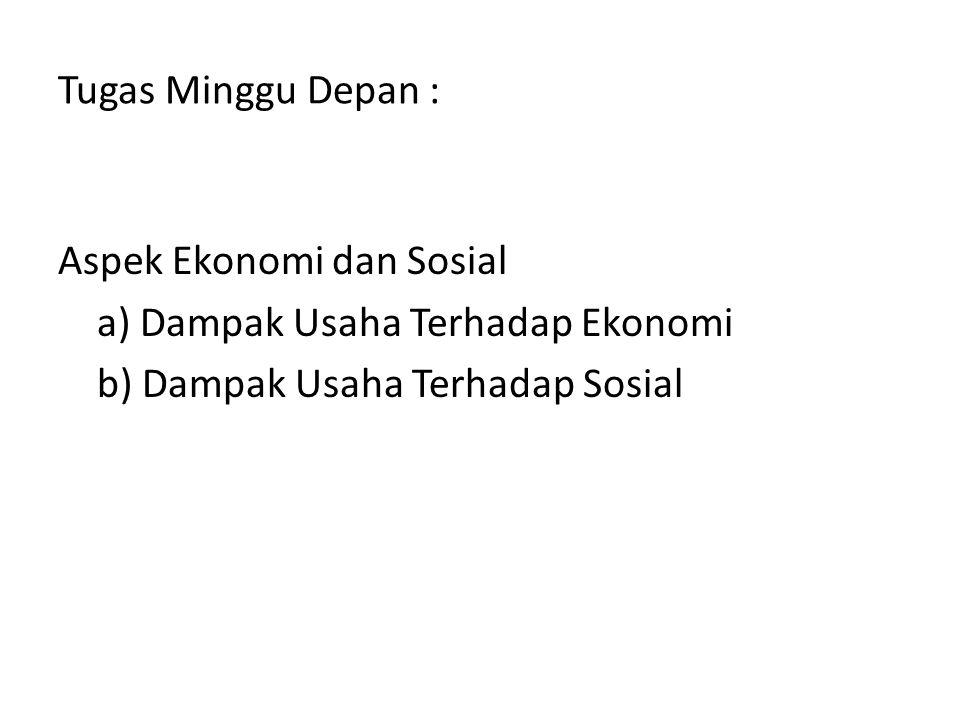 Tugas Minggu Depan : Aspek Ekonomi dan Sosial a) Dampak Usaha Terhadap Ekonomi b) Dampak Usaha Terhadap Sosial