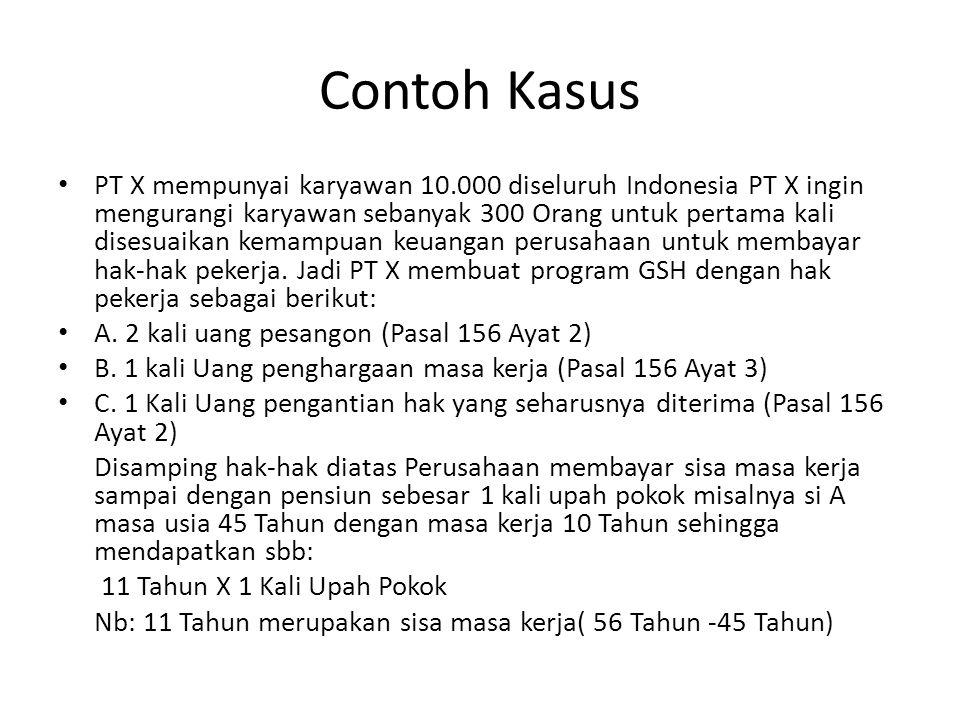 Contoh Kasus PT X mempunyai karyawan 10.000 diseluruh Indonesia PT X ingin mengurangi karyawan sebanyak 300 Orang untuk pertama kali disesuaikan kemam