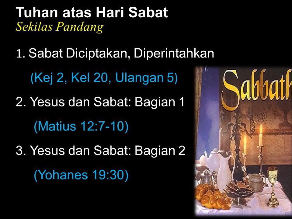 Black Tuhan atas Hari Sabat Sekilas Pandang 1. Sabat Diciptakan, Diperintahkan ( Kej 2, Kel 20, Ulangan 5 ) 2. Yesus dan Sabat: Bagian 1 (Matius 12:7-