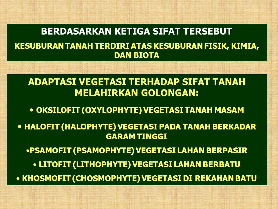 ADAPTASI VEGETASI TERHADAP SIFAT TANAH MELAHIRKAN GOLONGAN: OKSILOFIT (OXYLOPHYTE) VEGETASI TANAH MASAM HALOFIT (HALOPHYTE) VEGETASI PADA TANAH BERKAD