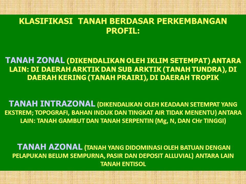 TIPE TANAH (USDA) TIPEKARAKTERISTIK NAMA LAMA ENTISOL TAK BERSTRAFIKASI AZONAL VERTISOL LEMBAB, PELAPUKAN BELUM LENGKAP, TAK BERLEMPUNG ARIDISOL BO RENDAH, TDK ADA HUJAN > 9 BL TNH PASIR MOLLISOL HAMPIR HITAM, DI HORISON ATAS MENGANDUNG BO TINGGI SPODOSOL KANDUNGAN SUBSTANSI AMORF TINGGI DI HORISON TENGAH INCEPTISOL TANAH LEMPUNGGROMUSOL PODSOL ALVISOLLAPISAN ATAS COKLAT, BASA TINGGI, BERLEMPUNG BASAH DI LAPISAN TENGAH ULTISOLLEMBAB, BASA TINGGI, LEMPUNG TINGGI PODSOL ABU-ABU COKLAT PODSOL MERAH KUNING OXISOL JENUH AIR, Fe & Al HIDROKSIDA TINGGI, LEMPUNG DI LAPISAN TENGAH LATOSOL HISTOSOLPENUH BAHAN ORGANIK ANDOSOL