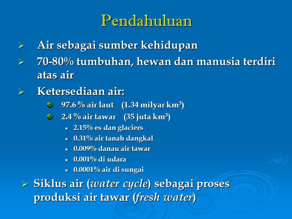 Potensi Air Indonesia: Air Permukaan  Air permukaan terdiri atas air sungai, danau, waduk, dan mata air ( spring )  Potensi air permukaan Indonesia 1.91 trilyun m 3 (Bakosurtanal, 2001)  Air tersebut tersebar di: 5,590 sungai 5,590 sungai 186 danau dan waduk 186 danau dan waduk 33 juta hektar rawa 33 juta hektar rawa