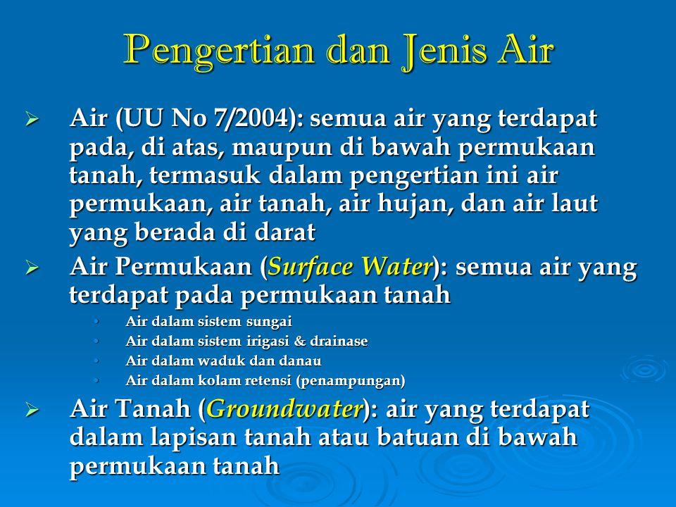 Potensi dan Kebutuhan Air Indonesia Aliran Permukaan = dari curah hujan ke muka bumi Aliran Mantap = sumber air hujan yang tertampung dalam waduk, danau, sungai, dll Surface run-off = Aliran Permukaan – Aliran Mantap = 2.27 trilyun m3/th