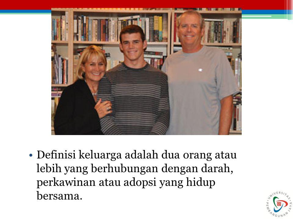 Definisi keluarga adalah dua orang atau lebih yang berhubungan dengan darah, perkawinan atau adopsi yang hidup bersama.