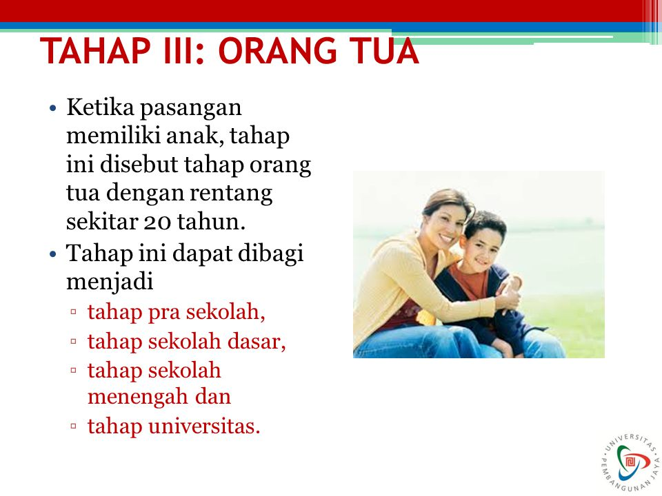 TAHAP III: ORANG TUA Ketika pasangan memiliki anak, tahap ini disebut tahap orang tua dengan rentang sekitar 20 tahun. Tahap ini dapat dibagi menjadi