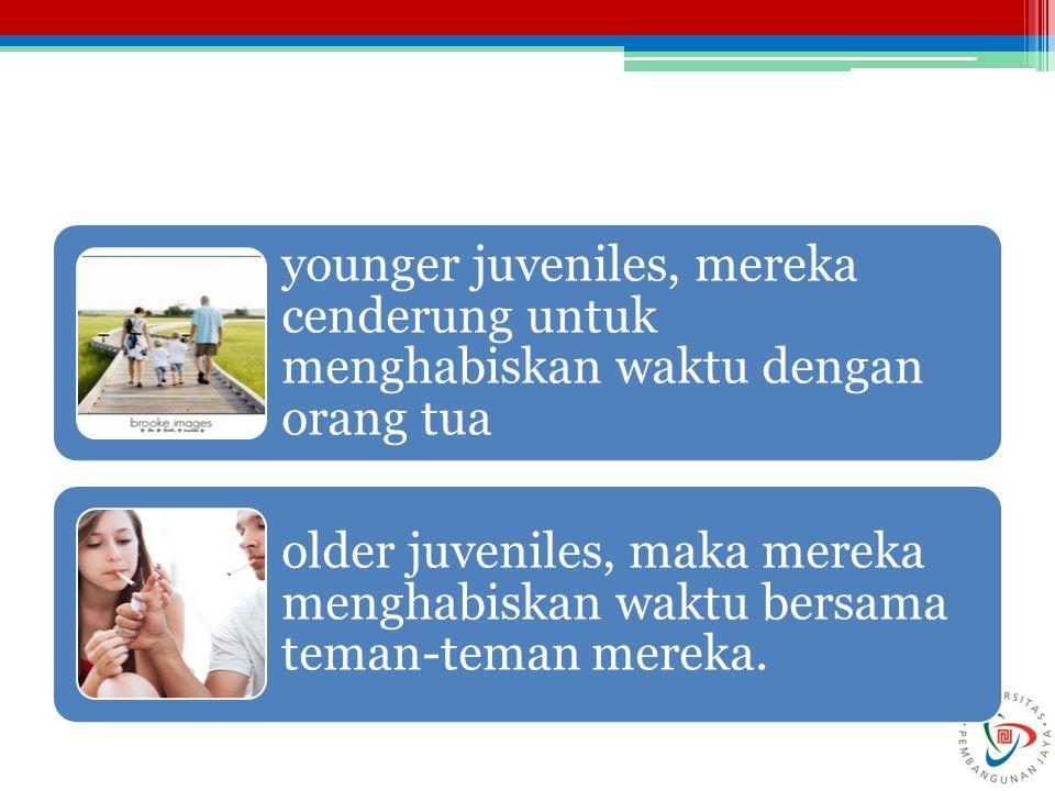 younger juveniles, mereka cenderung untuk menghabiskan waktu dengan orang tua older juveniles, maka mereka menghabiskan waktu bersama teman-teman mere