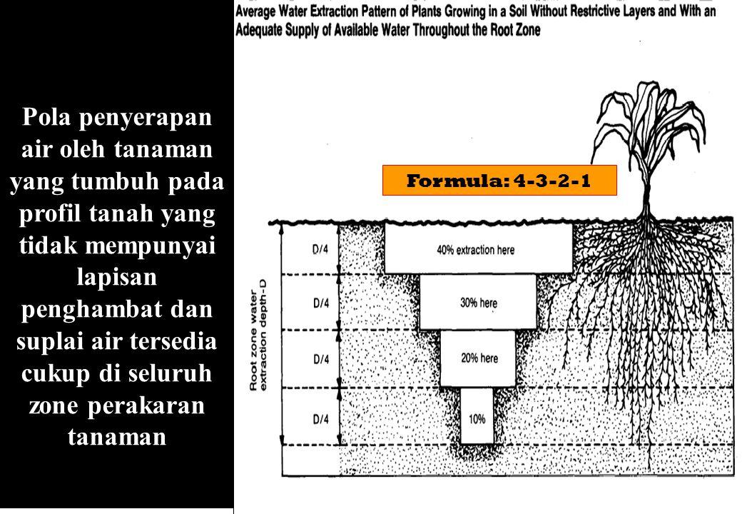 Pola penyerapan air oleh tanaman yang tumbuh pada profil tanah yang tidak mempunyai lapisan penghambat dan suplai air tersedia cukup di seluruh zone perakaran tanaman Formula: 4-3-2-1
