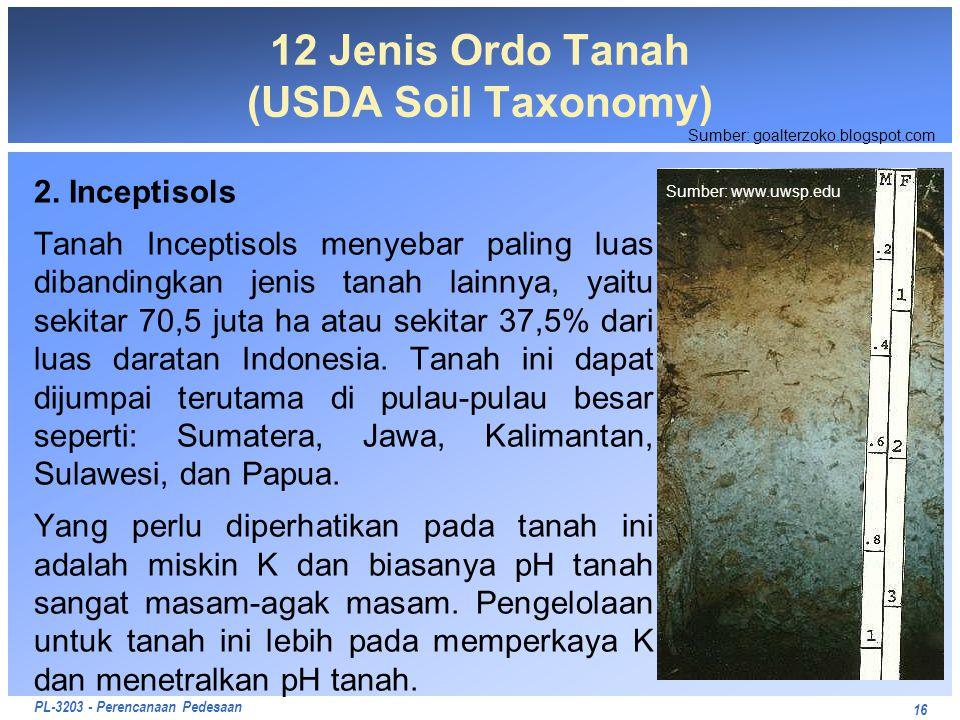 PL-3203 - Perencanaan Pedesaan 2. Inceptisols Tanah Inceptisols menyebar paling luas dibandingkan jenis tanah lainnya, yaitu sekitar 70,5 juta ha atau