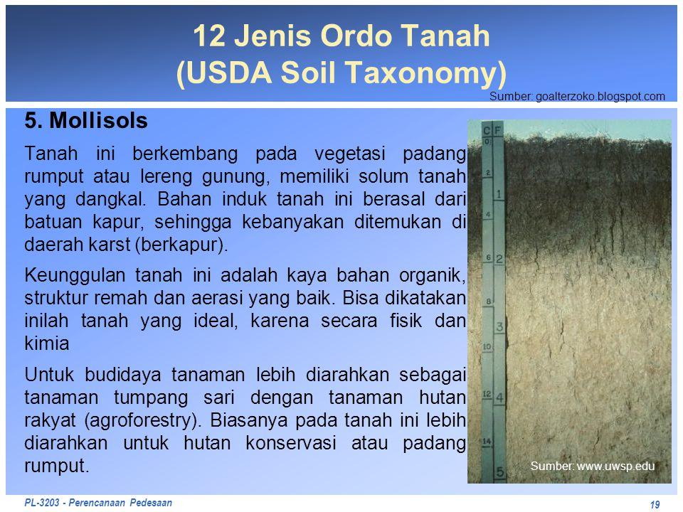 PL-3203 - Perencanaan Pedesaan 5. Mollisols Tanah ini berkembang pada vegetasi padang rumput atau lereng gunung, memiliki solum tanah yang dangkal. Ba