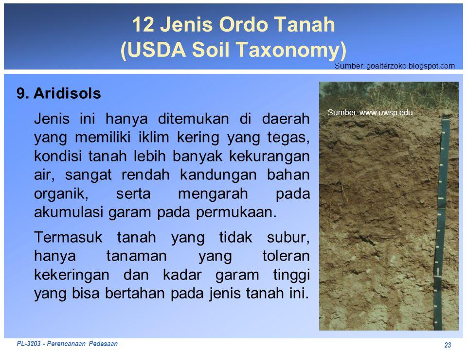 PL-3203 - Perencanaan Pedesaan 9. Aridisols Jenis ini hanya ditemukan di daerah yang memiliki iklim kering yang tegas, kondisi tanah lebih banyak keku