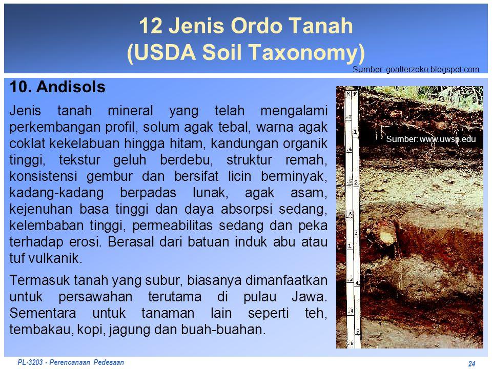 PL-3203 - Perencanaan Pedesaan 10. Andisols Jenis tanah mineral yang telah mengalami perkembangan profil, solum agak tebal, warna agak coklat kekelabu