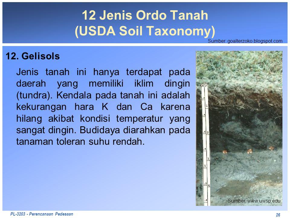 PL-3203 - Perencanaan Pedesaan 12. Gelisols Jenis tanah ini hanya terdapat pada daerah yang memiliki iklim dingin (tundra). Kendala pada tanah ini ada
