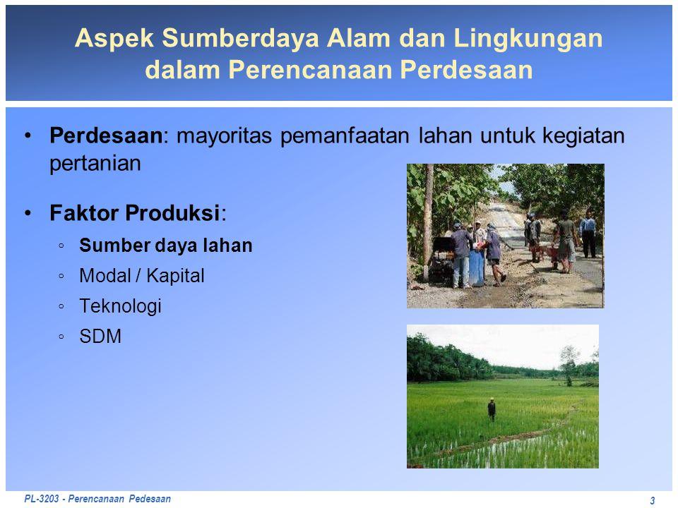 PL-3203 - Perencanaan Pedesaan 3 Aspek Sumberdaya Alam dan Lingkungan dalam Perencanaan Perdesaan Perdesaan: mayoritas pemanfaatan lahan untuk kegiata