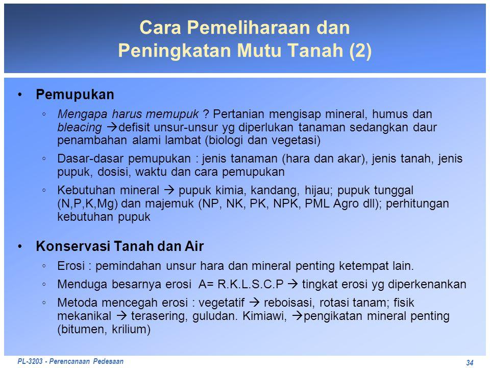 PL-3203 - Perencanaan Pedesaan 34 Cara Pemeliharaan dan Peningkatan Mutu Tanah (2) Pemupukan ◦Mengapa harus memupuk ? Pertanian mengisap mineral, humu