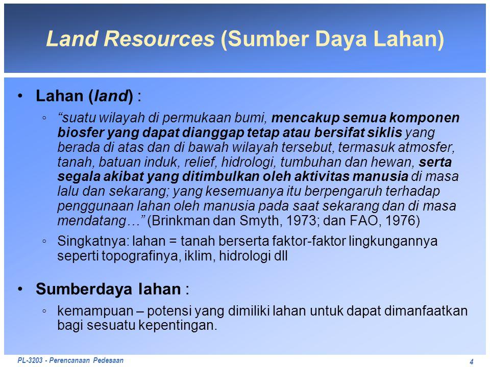 """PL-3203 - Perencanaan Pedesaan 4 Land Resources (Sumber Daya Lahan) Lahan (land) : ◦""""suatu wilayah di permukaan bumi, mencakup semua komponen biosfer"""