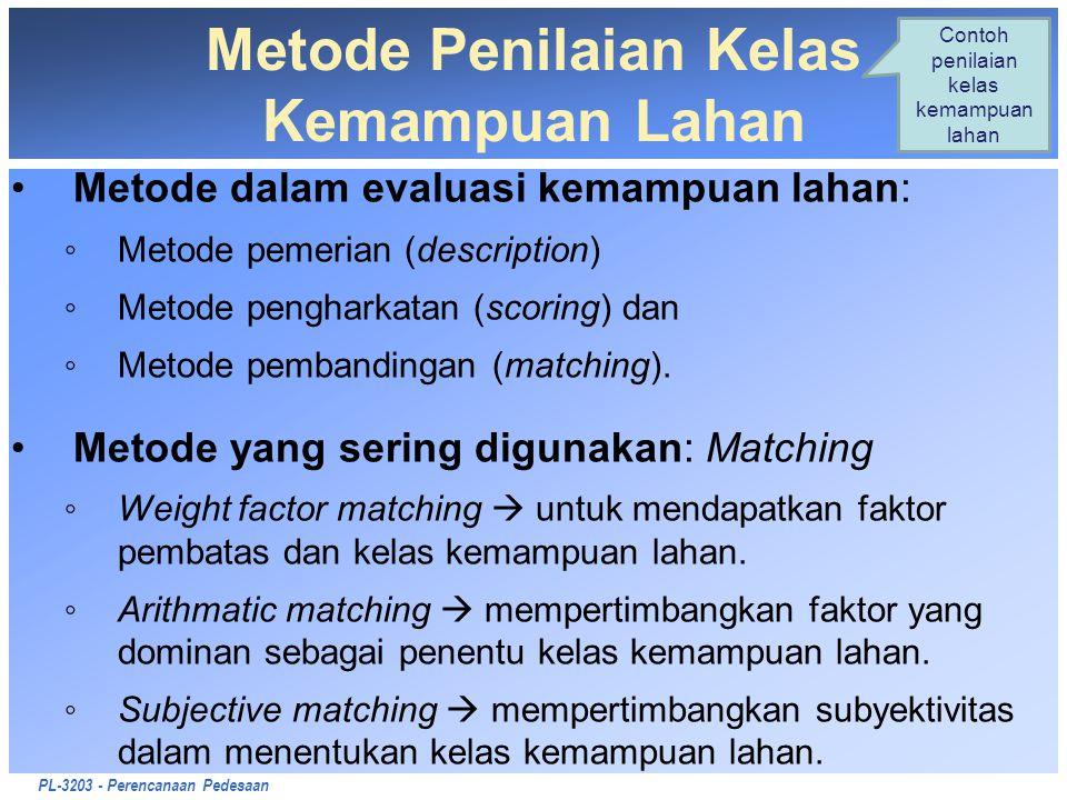 PL-3203 - Perencanaan Pedesaan Metode Penilaian Kelas Kemampuan Lahan Metode dalam evaluasi kemampuan lahan: ◦Metode pemerian (description) ◦Metode pe