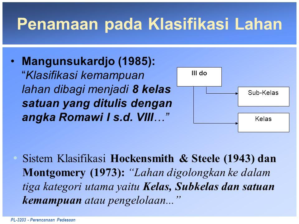 """PL-3203 - Perencanaan Pedesaan Penamaan pada Klasifikasi Lahan Mangunsukardjo (1985): """"Klasifikasi kemampuan lahan dibagi menjadi 8 kelas satuan yang"""